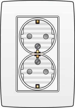 Niko Original - Dubbele wandcontactdoos met randaarde Alpinwit 101-67845