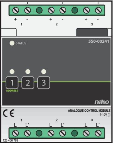 Niko Home Control - Stuurmodule 3-voudig  1-10V Opbouw  550-00241