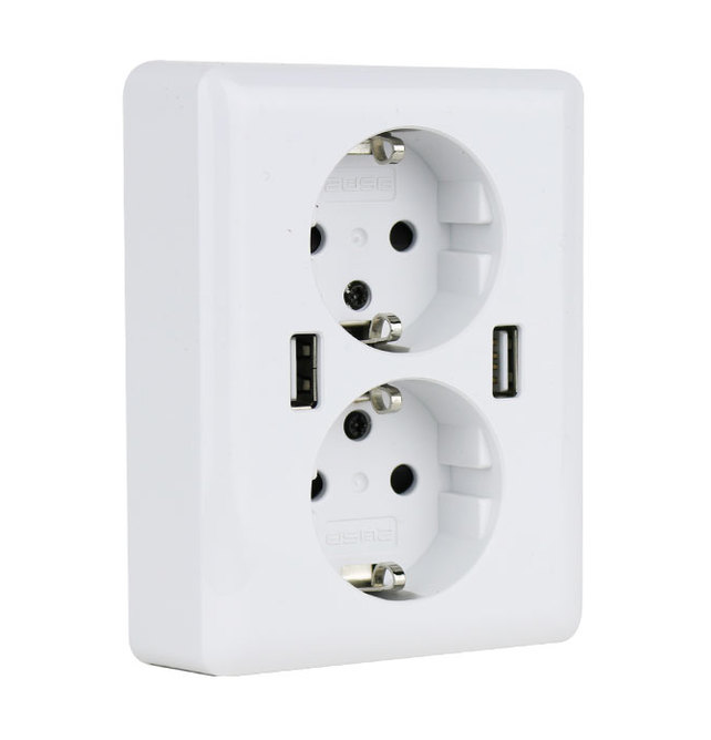 Duo USB EasyCharge stopcontact 12W/2.4A