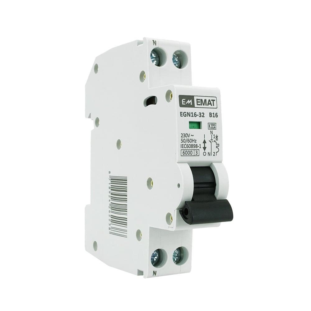 EMAT installatieautomaat 1-polig+nul 16A B-kar