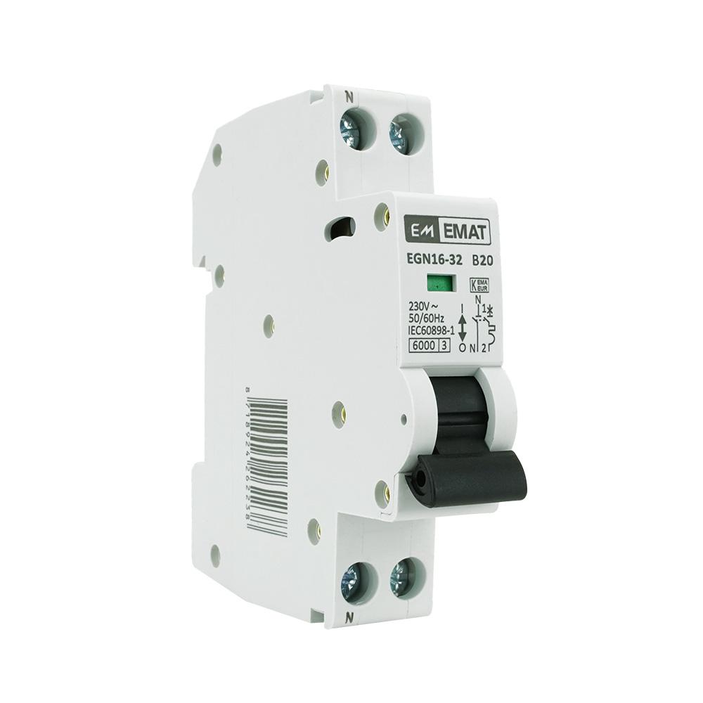 EMAT installatieautomaat 1-polig+nul 20A B-Kar