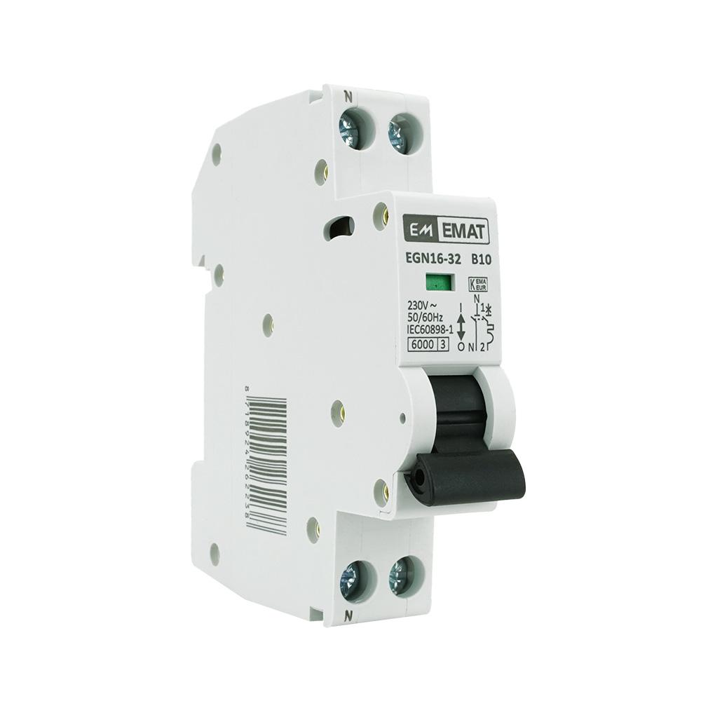 EMAT installatieautomaat 1-polig+nul 10A B-kar