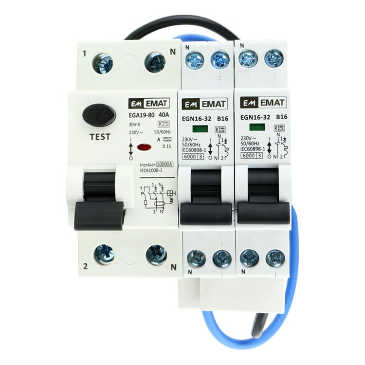 EMAT uitbreidingsset 1 aardlekschakelaar 2P 40A, 2 installatieautomaat 1P+N 16A B-Kar