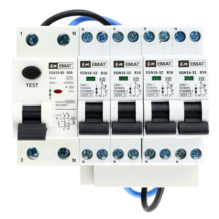 EMAT uitbreidingsset 1 aardlekschakelaar 2P 40A, 4 installatieautomaat 1P+N 16A B-Kar