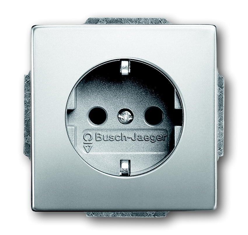 ABB Busch-Jaeger inbouw stopcontact met randaarde - Pure stainless steel (20 EUC-866 BJ)