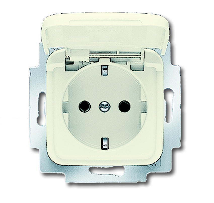 ABB Busch-Jaeger inbouw stopcontact met klapdeksel en randaarde 1-voudig - SI crème (20 EUK-212-503)