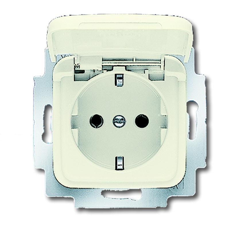 Busch-Jaeger inbouw stopcontact met klapdeksel en randaarde 1-voudig - SI crème (20 EUK-212-503)