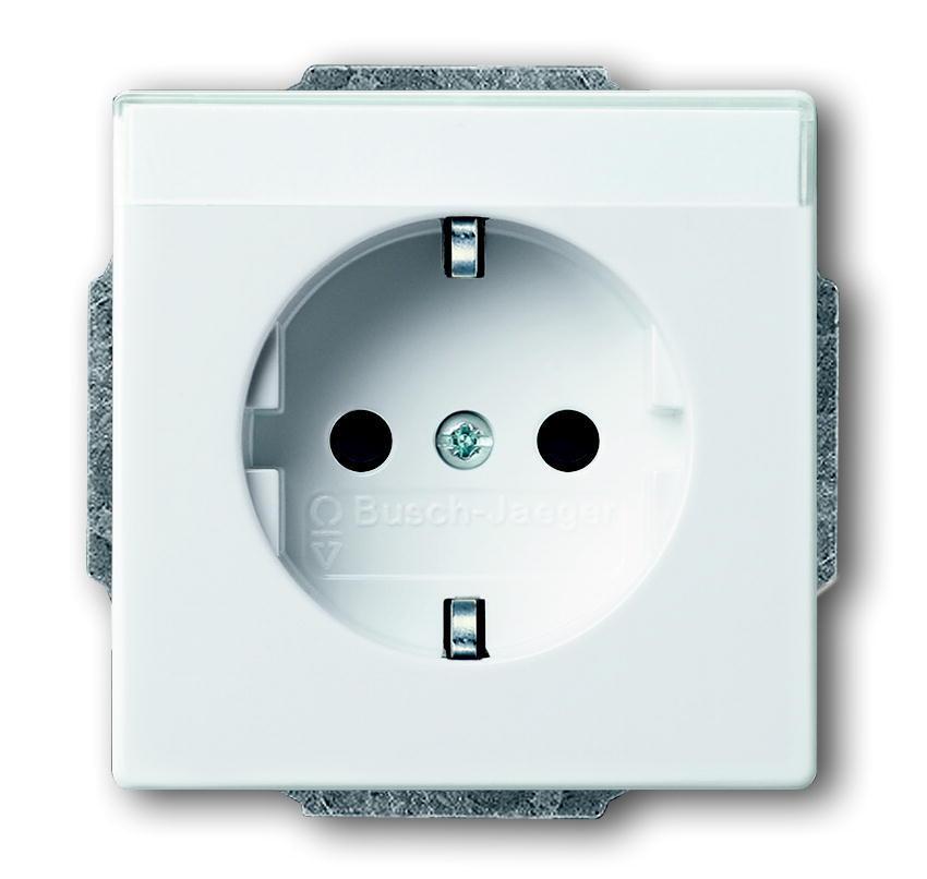 ABB Busch-Jaeger stopcontact met randaarde en tekstkader - Future linear wit (2011-0-3727)
