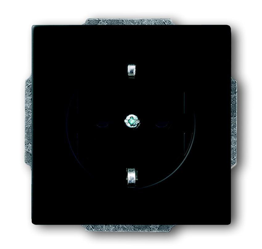 Busch-Jaeger wandcontactdoos inbouw randaarde 1-voudig - future linear zwart mat (20 EUC-885)