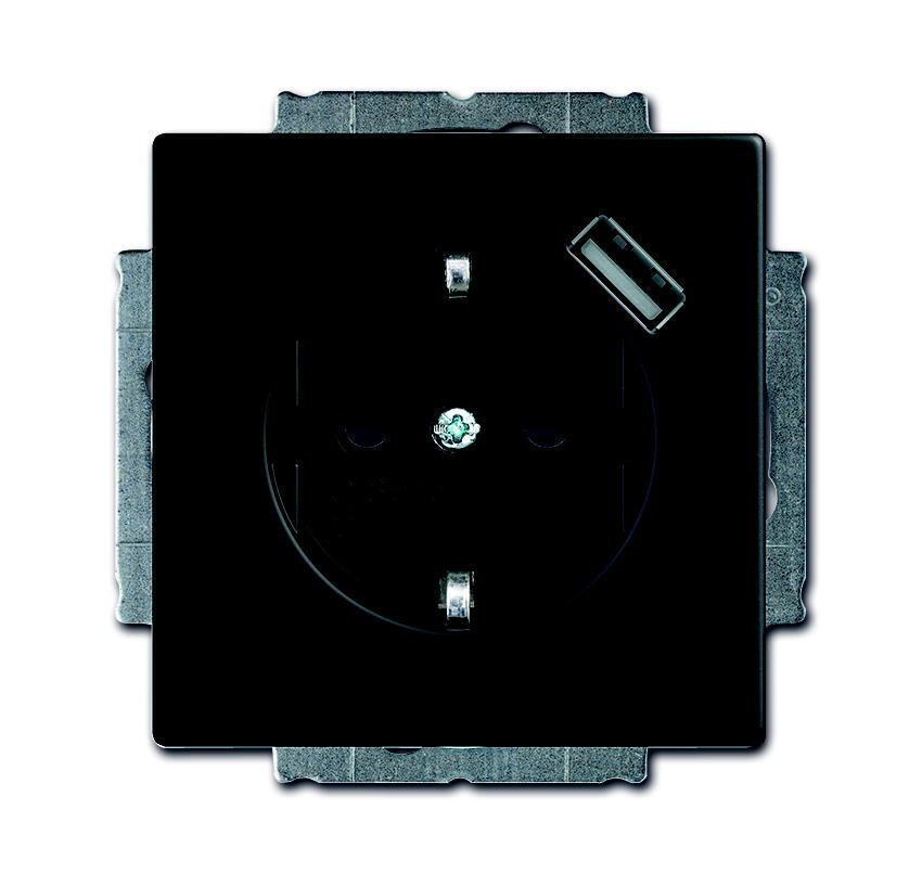 Busch-Jaeger wandcontactdoos inbouw met usb, randaarde 1-voudig - future linear zwart mat (20 EUCBUSB-885)