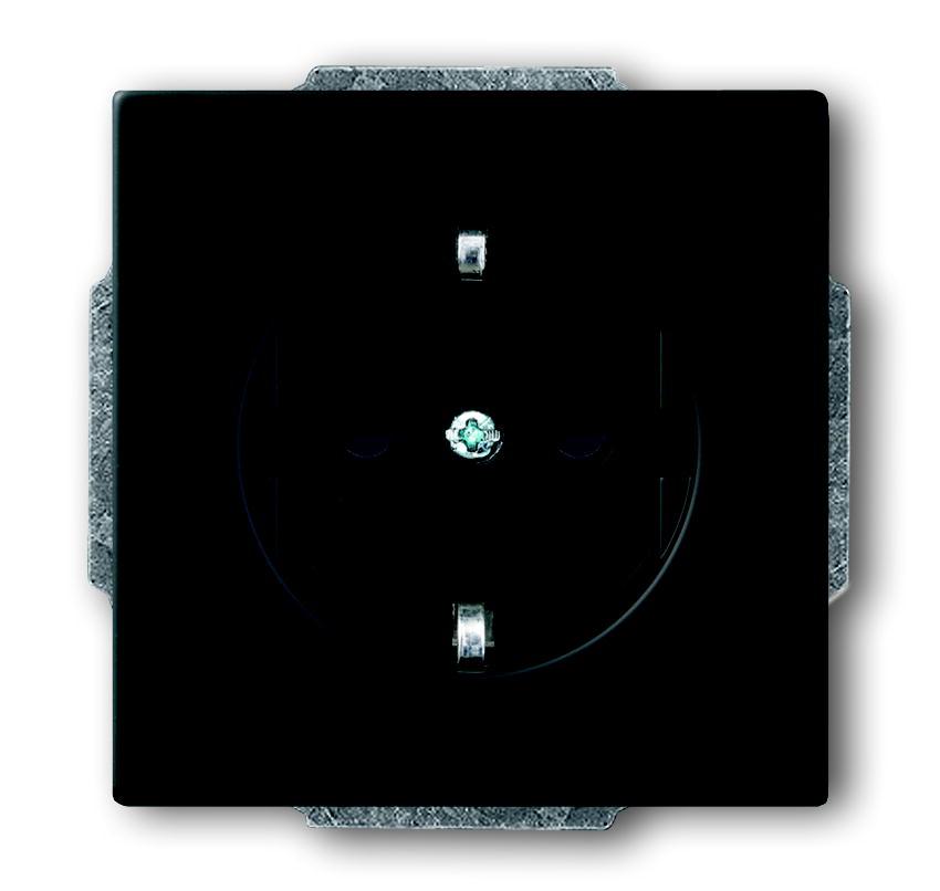 Busch-Jaeger wandcontactdoos inbouw met randaarde 1-voudig - future linear zwart mat (20 EUCKS-885)