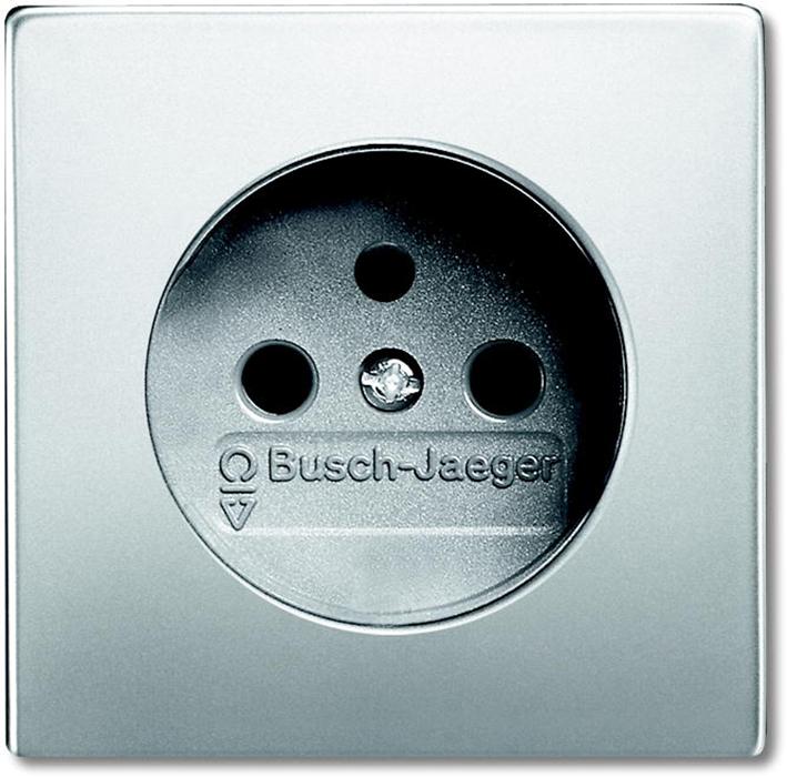 ABB Busch-Jaeger wandcontactdoos met penaarde - Pure stainless steel (2399 UCKS-866)