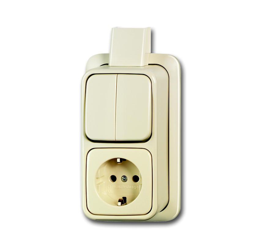 Busch-Jaeger opbouw combinatie serieschakelaar/stopcontact met randaarde - crème (2601/5/2300 EAPJ)