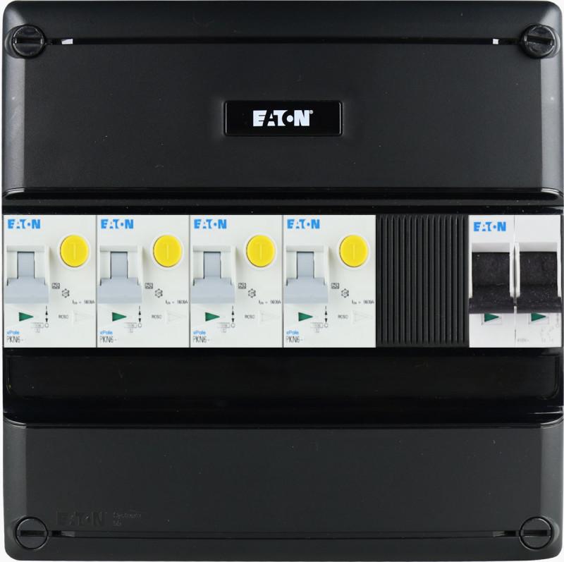 EATON groepenkast 4 aardlekautomaten 1 fase 220x220 (BxH)