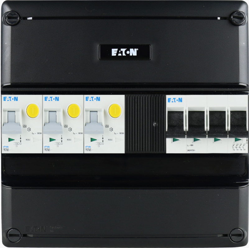 EATON groepenkast 3 aardlekautomaten 3 fase 220x220 (BxH)