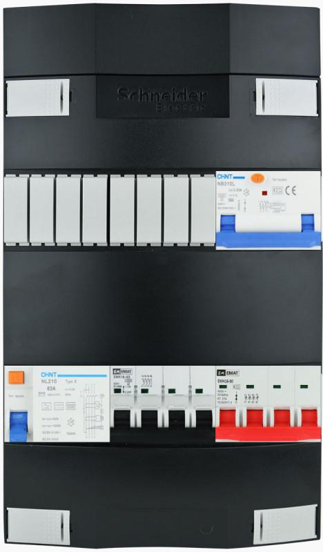 EMAT groepenkast 3 fase met 16A (11kW) PV-beveiliging en groep laadpaal 11kW