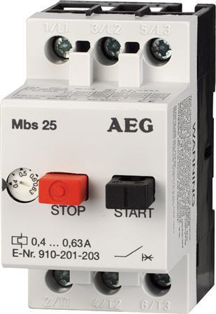AEG motorbeveiligingsschakelaar 0,4 - 0,63A MBS25