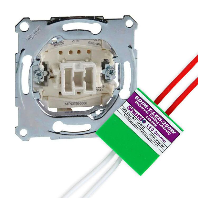 Schneider Electric Merten set impulsdrukker + shuttle dimmer LED/halogeen 125W (MTN3150-0000-250W)