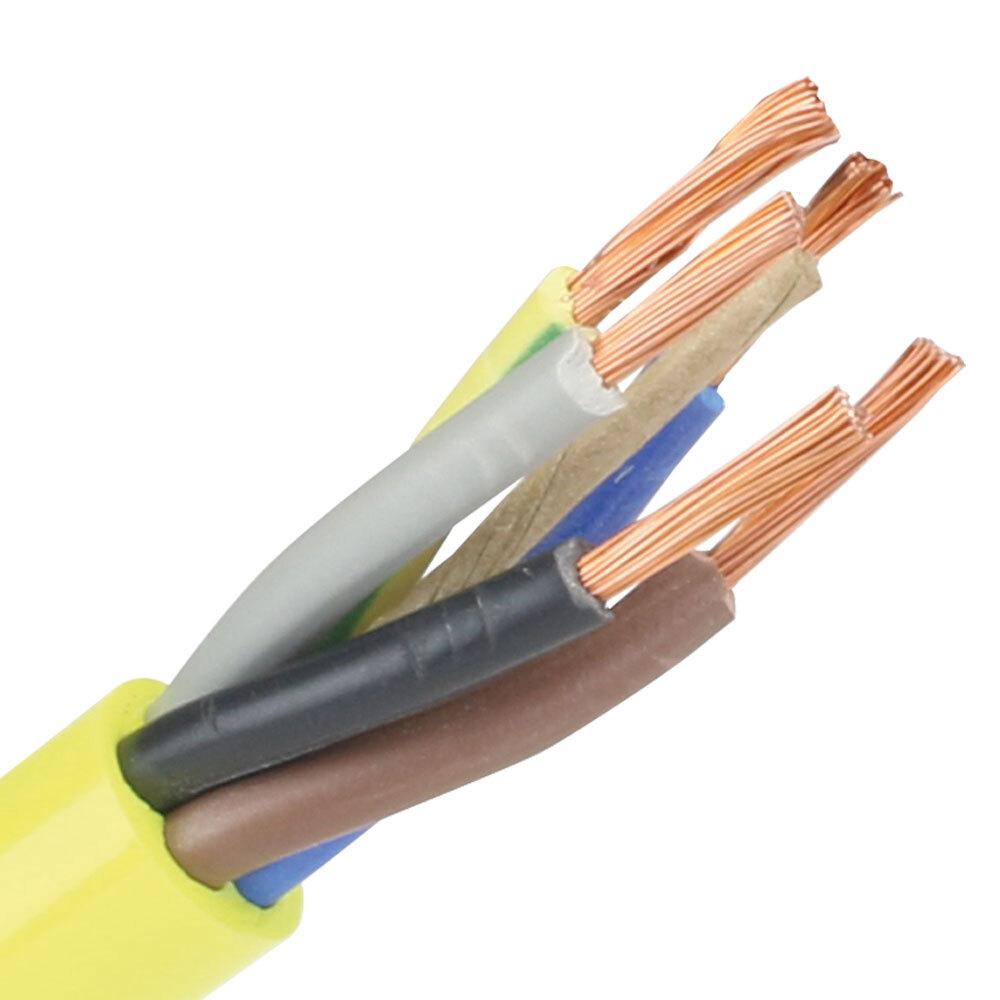 Pur kabel 5x2,5 (H07BQ-F) geel - rol 100 meter