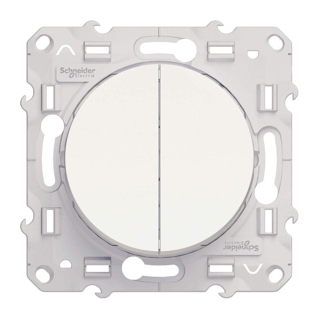 Schneider Electric Odace dubbele enkelpolige schakelaar 10A - wit (S520211)