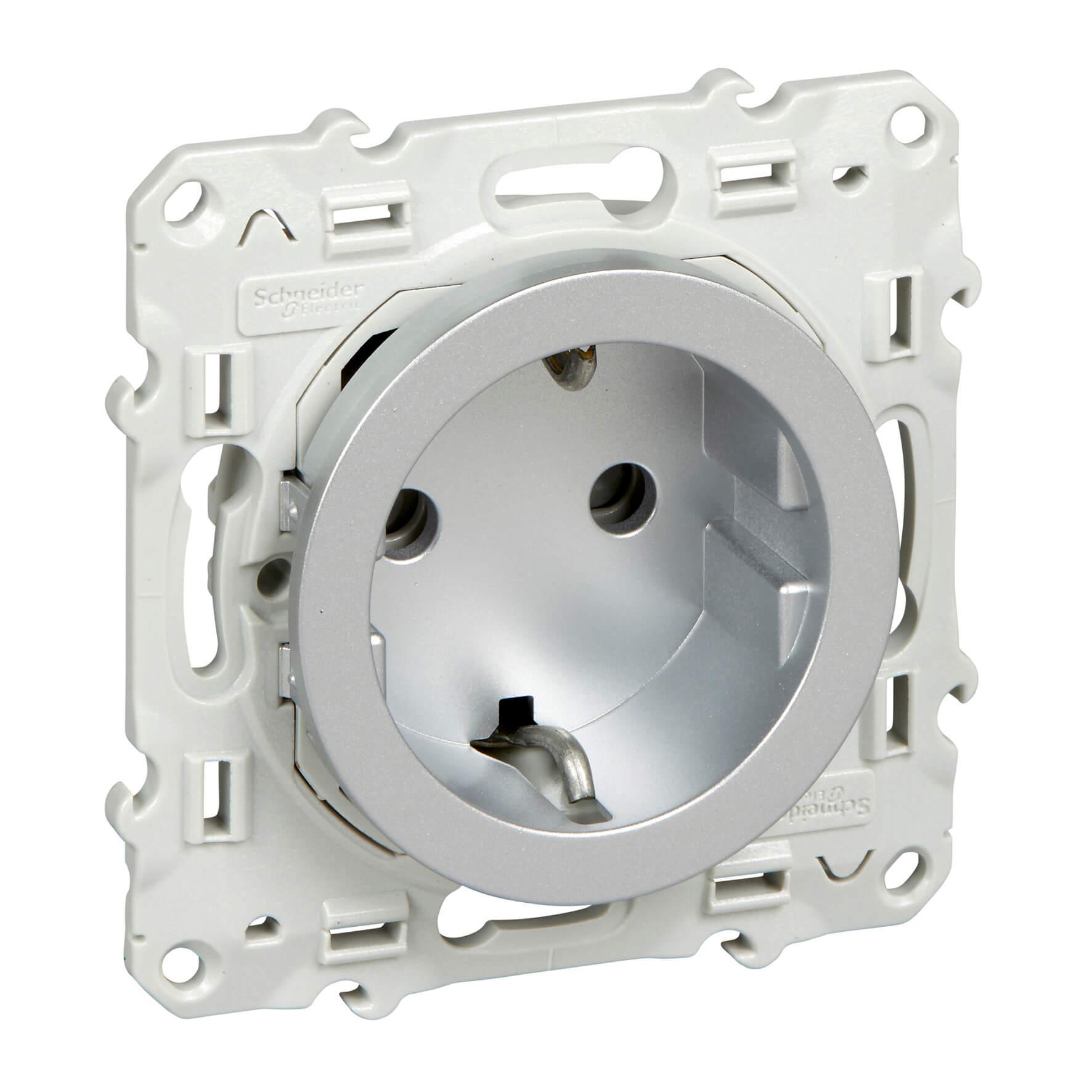 Schneider-Merten Odace wandcontactdoos met randaarde 16A - aluminium (S530057)