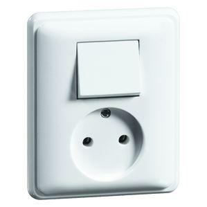 PEHA combinatie wisselschakelaar en stopcontact zonder randaarde - standaard alpin wit (H 80.1986.02)
