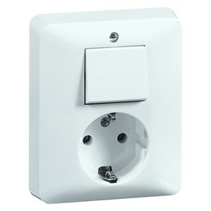 PEHA combinatie wisselschakelaar en stopcontact met randaarde - standaard alpin wit (H 80.6685.02)