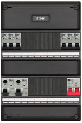 Een 1 fase groepenkast is voorzien van 2 polige aardlekbeveiliging en hoofdschakelaar
