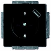 Busch-Jaeger stopcontact met USB zwart mat